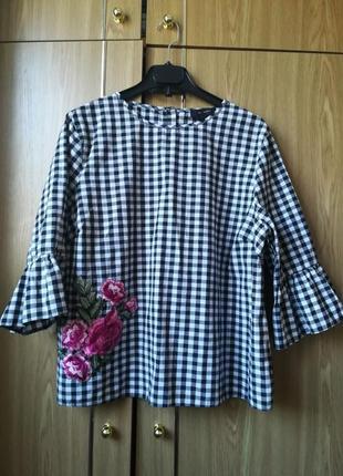 Рубашка блуза в клетку с вышивкой