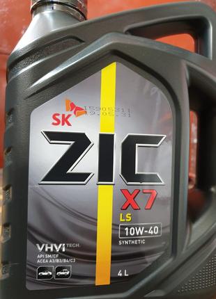 ZIC X7 LS 10W-40 синтетическое моторное масло 4л зик синтетика