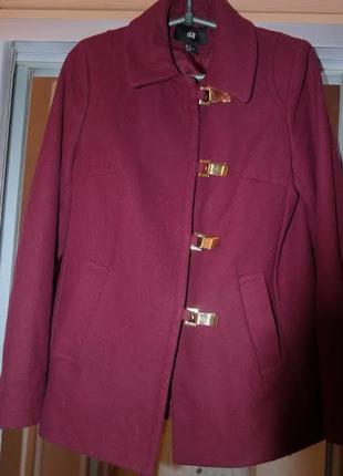 Полу-пальто цвета марсала, н&m xs-s