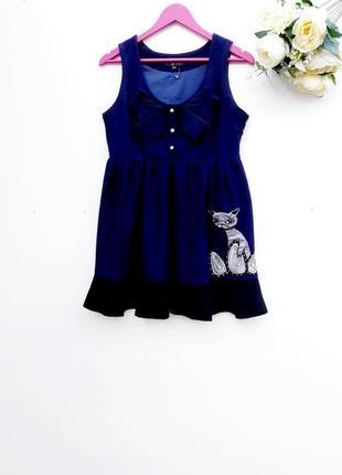 Теплое платье сарафан стильное платье шерстяной сарафан с котом