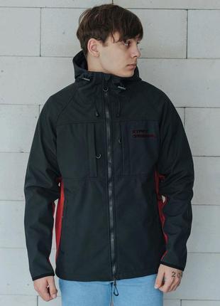 Куртка staff soft shel black & bordo