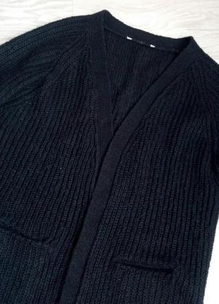 Черный,  длинный,  удлиненный кардиган с карманами в идеальном...
