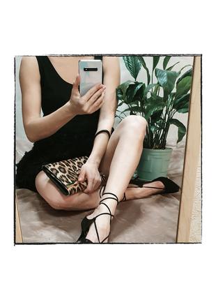 Туфли Next черные с завязками, на небольшом каблуке
