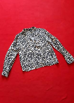 Блузка блуза укороченная с широким рукавом леопардовый принт р s