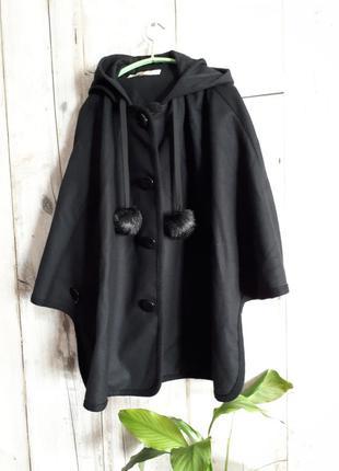 Пончо пальто с капюшоном короткое шерстяное шерсть кашемир чер...