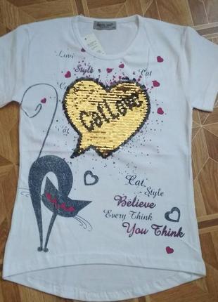 Красивая футболка для девочки кошка пайетки перевертыши