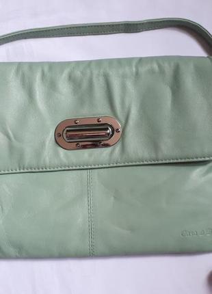Кожаная сумка мятного цвета с длинной ручкой casa di borse
