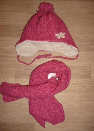 Шапка и шарф зимний комплект, розовый