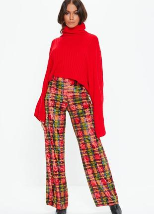 👑♥️final sale 2019 ♥️👑   велюровые брюки палацо в клетку