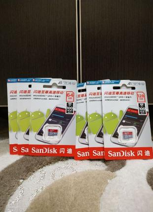 Карта памяти SanDisk Ultra Micro SD 64/128 GB 10 класс A1 U1! ...