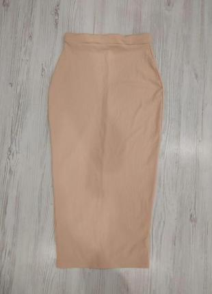 Ликвидация товара 🔥 персиковая юбка миди трикотаж рубчик