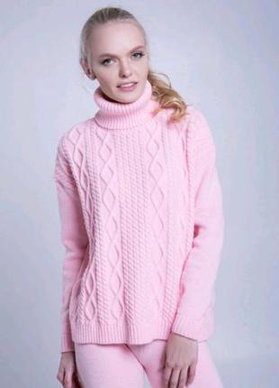 Класссный вязаный свитер косы пудра от sewel