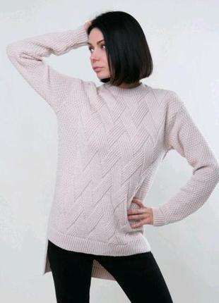 Классный вязаный свитер туника косы от sewel