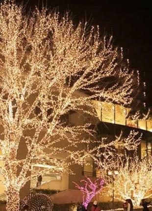 Гирлянда уличная наружная теплый белый 10 метров 100 лампочек