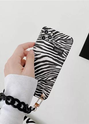 Чехол силиконовый зебра с цепью цепочкой iphone xs max айфон х...