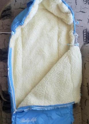 Зимний термо конверт на овчине с плащевкой в коляску, санки го...