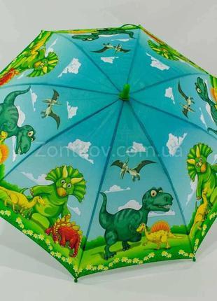 Детский яркий зонт трость с динозаврами для мальчика и девочки...
