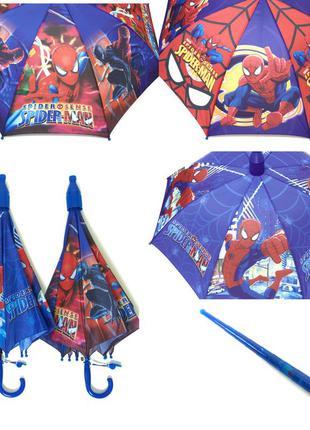 Качественный детский зонт трость для мальчика спайдермен в скл...