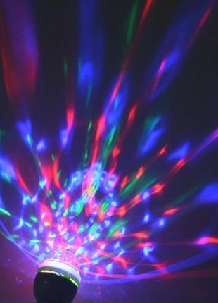 Диско лампа. гирлянда, крутится и переливается разными цветами