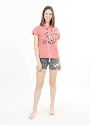 Женский комплект домашней одежды шорты и футболка, женская оде...
