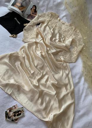 La perla шелковое платье шампань