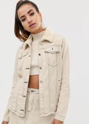 Ликвидация товара 🔥  бежева джинсова масляна куртка на осінь