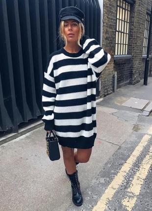 Ликвидация товара 🔥   шикарное вязаное платье свитер в полоску