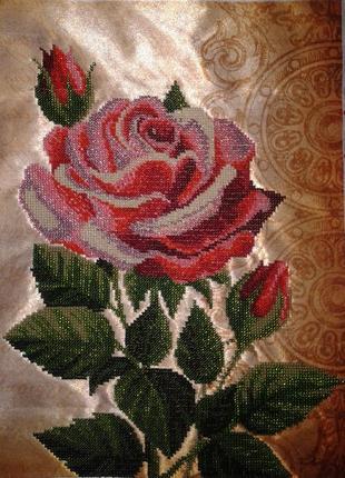 """Картина вышитая бисером """"Роза"""""""