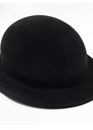 Шляпа детская котелок для джентлмена флок черная