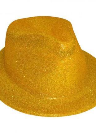 Шляпа маскарадная детская золотистая мафия