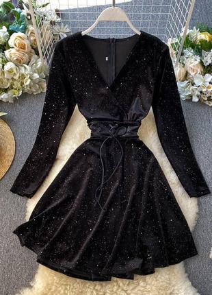 Черное бархатное платья с мерцанием платье бархат миди