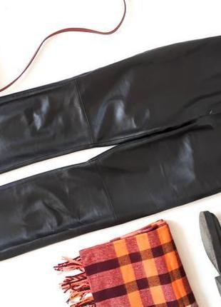 Женские кожаные брюки натуральная кожа высокая посадка штаны