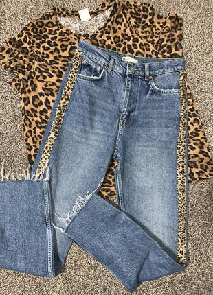 Классные джинсы 👖 мом джинсы джинсы с лампасами 💯 % катон