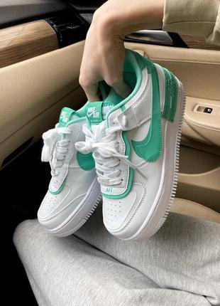 Кроссовки nike air force 1 white/green