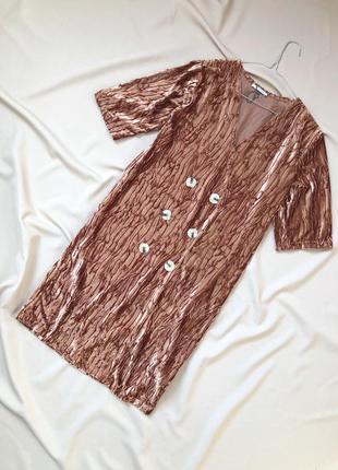 Велюровое платье-пиджак на пуговицах