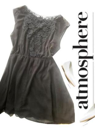 Шефоновое платье с кружевом на спине размер 50-52