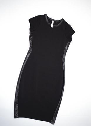 Платье турция сoolcat черное платье с кожаными вставками по бокам