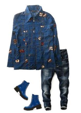 Стрейчевая рубашка под джинс размер 40-44