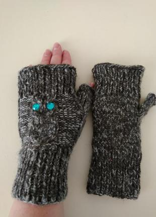 Теплые вязаные митенки перчатки рукавицы варежки без пальчиков...