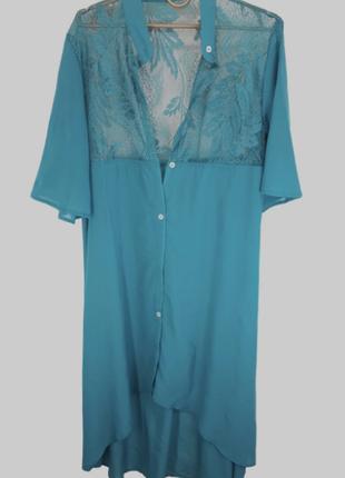 Длинная пляжная рубашка кимоно с гипюром z. five, 3 цвета 145мш