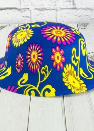 Карнавальная шляпа котелок детская цветы