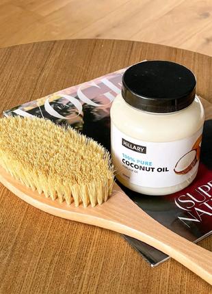 АКЦІЯ -30% Щітка для сухого масажу+рафіноване кокосове масло