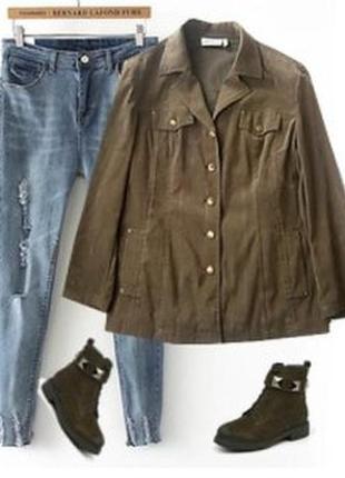 Стрейчевая рубашка пиджак под замш размер 48-50