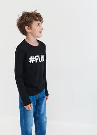 Хлопковый лонгслив стильний реглан eco aware хештег #fun