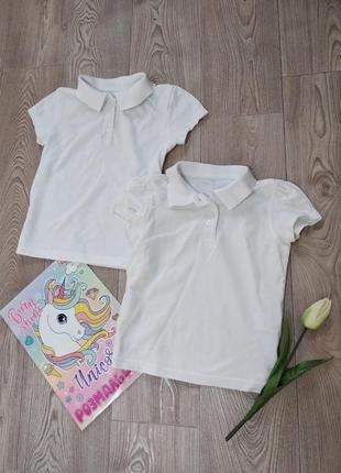 Белые футболки поло для девочки с воротничком футболка
