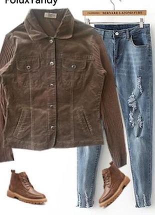 Бархатный пиджак с трикотажными рукавами