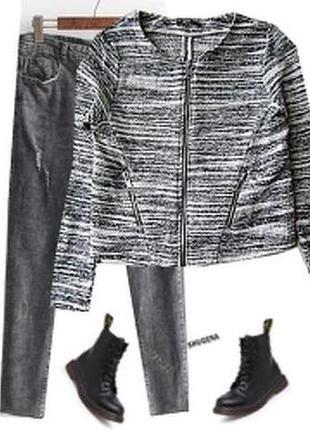 Модный пиджак букле с замочками