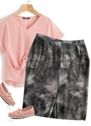 Шефоновая юбка модный принт большой размер