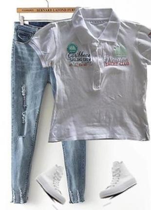 Стрейчевая футболка в стиле поло