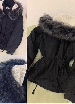 Парка с мехом енота, куртка с мехом